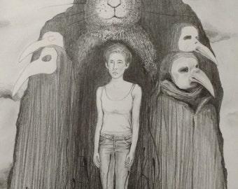 original art-illustration-drawing-art-graphite pencil drawing-surrealism.fine art.TWOPI1DB