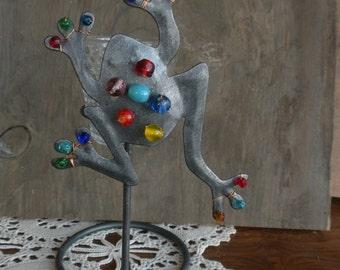 Jeweled Tree Frog Votive Candle Holder