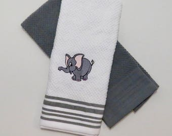 Gray And White Kitchen Hand Towel Set With Embroidery Elephant
