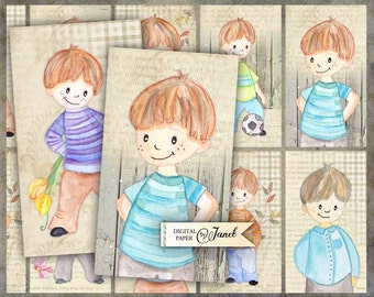 Little Boy - digital collage sheet - set of 10 - Printable Download