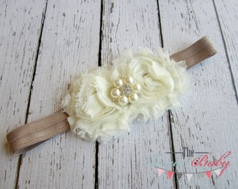 Ivory & Champagne Headband with Pearl Rhinestone -  Vintage Shabby Chic Style - Newborn Infant Baby Toddler Girls Adult Wedding