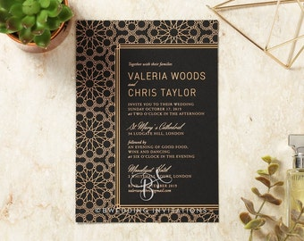 Moroccan-Inspired Wedding Invitation, Luxe Foil Stamping - IWF16083-GK-MG