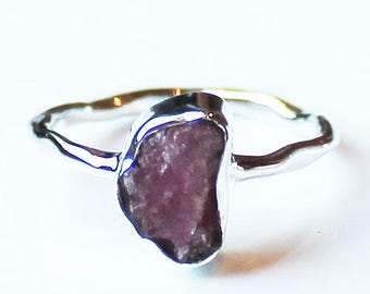 100% 925 Solid Sterling Silver Pink Tourmaline Rough Semi-Precious GemStone Ring - Size 7