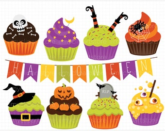 Clipart - Halloween Cupcake - Digital Clip Art (Instant Download)
