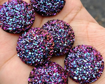 Magenta Purple Rainbow 25mm flat faux druzy Cabochons 6pcs - C17:14