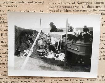 Vintage Funeral Photo | 1950s Coffin Burial Photograph | Halloween Ephemera