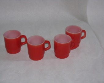 Set of 4 vintage red glass mugs Anchor Hocking made in USA