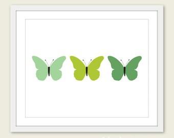 Minimalist Butterflies Art Print -  Green - Wall Art - Under 20