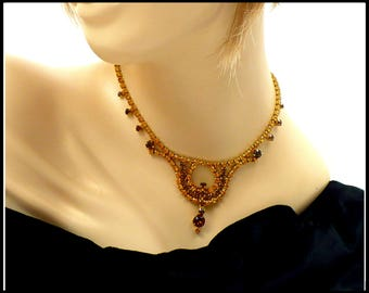 Amber & Gold Rhinestone Necklace, Long Ornate Center Drop, Gold Rhinestones, Bridesmaid Maid of Honor, Stage Performance, Gift For Her