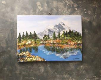Mountain Landscape Scene   Vintage Canadian Landscape Painting   Lake Reflection Painting   Original Acrylic Painting On Canvas   Signed Art