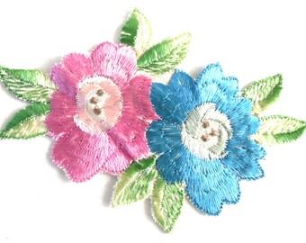 Flower Patch, Applique, Flower applique, 1930s vintage embroidered applique. Vintage floral patch, sewing supply. #646GD2KB