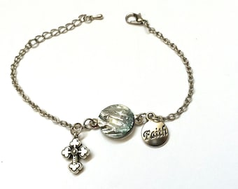 Christian bracelet, Faith Based Silver colored  Bracelet with Christian Cross Charm