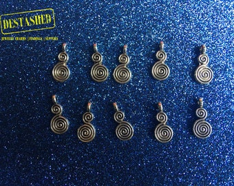 Swirly Gourd Tibetan Silver Charms Wholesale Lot 10 Pieces