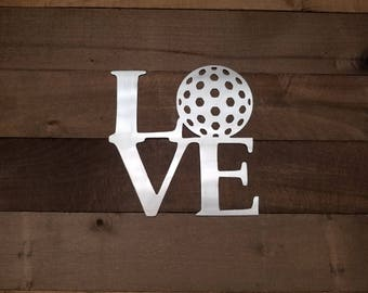 Love Golf Art Metal Sign, Golf Theme Gift for Golfer, Christmas Gift for Dad, Father's Day Gift Golfing Wall Sign, Golf Holiday Gift