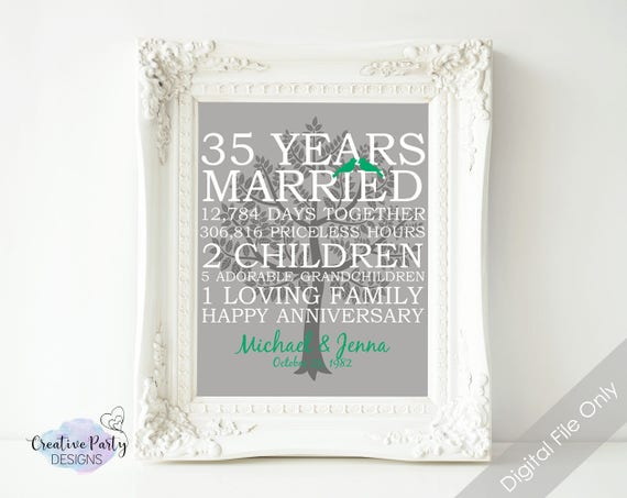 35th Wedding Anniversary Gifts For Parents: 35th Wedding Anniversary Gift 35th Anniversary Print