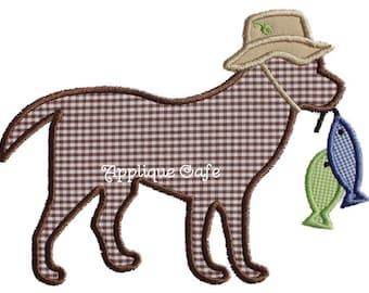 606 Fishing Dog Machine Embroidery Applique Design