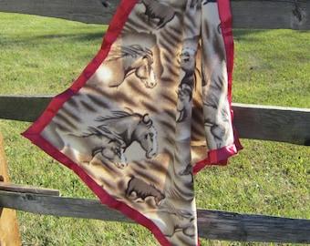 Handcrafted Horse Head Brown Fleece Baby Blanket Light Single Layer