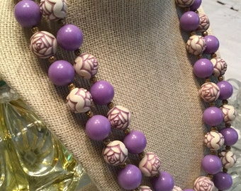 Fun Purple White Lucite Flower Bead Two Strand Necklace 1950's 1960's Carved Hand Painted Floral Design Double Strand Mauve Shade