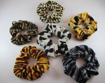 6 animal print scrunchies, Velvet hair Scrunchies elastic ties.