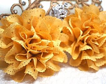 2 Mustard Eyelet Flower - Fabric Flower - Vintage Chiffon Flower - Lace rose - Wholesale flowers - Lace Flower - Eyelet Fabric Flower