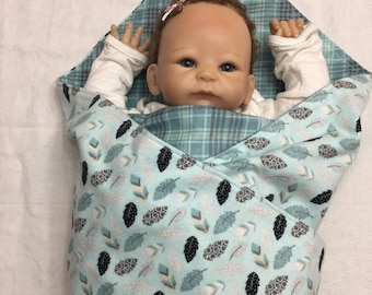 Extra Large Receiving Baby Flannel Blanket- Feather, Gray, Plaid, Black, Mint Green