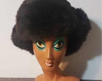 Vintage 1950s-60s Russian Rabbit Fur Ear Flap Hat