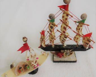 Kansas City Worlds of Fun Unique Souvenir 2 Collectible Ship Statues made of Shells Cedar Fair Amusement Park