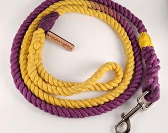 Rope Dog Leash - Cotton - Purple & Yellow