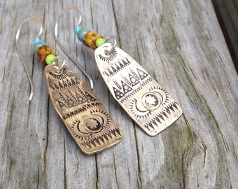 MADE TO ORDER, Tribal Inspired Ornate Stamped Bronze Earring