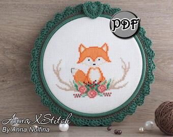 Fox cross stitch pattern Fox cross stitch Fox embroidery pattern Fox hand embroidery Fox Horns cross stitch Antlers embroidery Forest animal