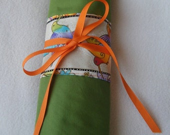 Large Knitting Needle Case Made in Green with a Laurel Burch Fabric - Handmade By Me