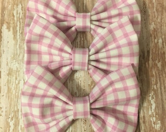Violet Gingham Print Fabric Bow, Toddler Bow, Girls Bow