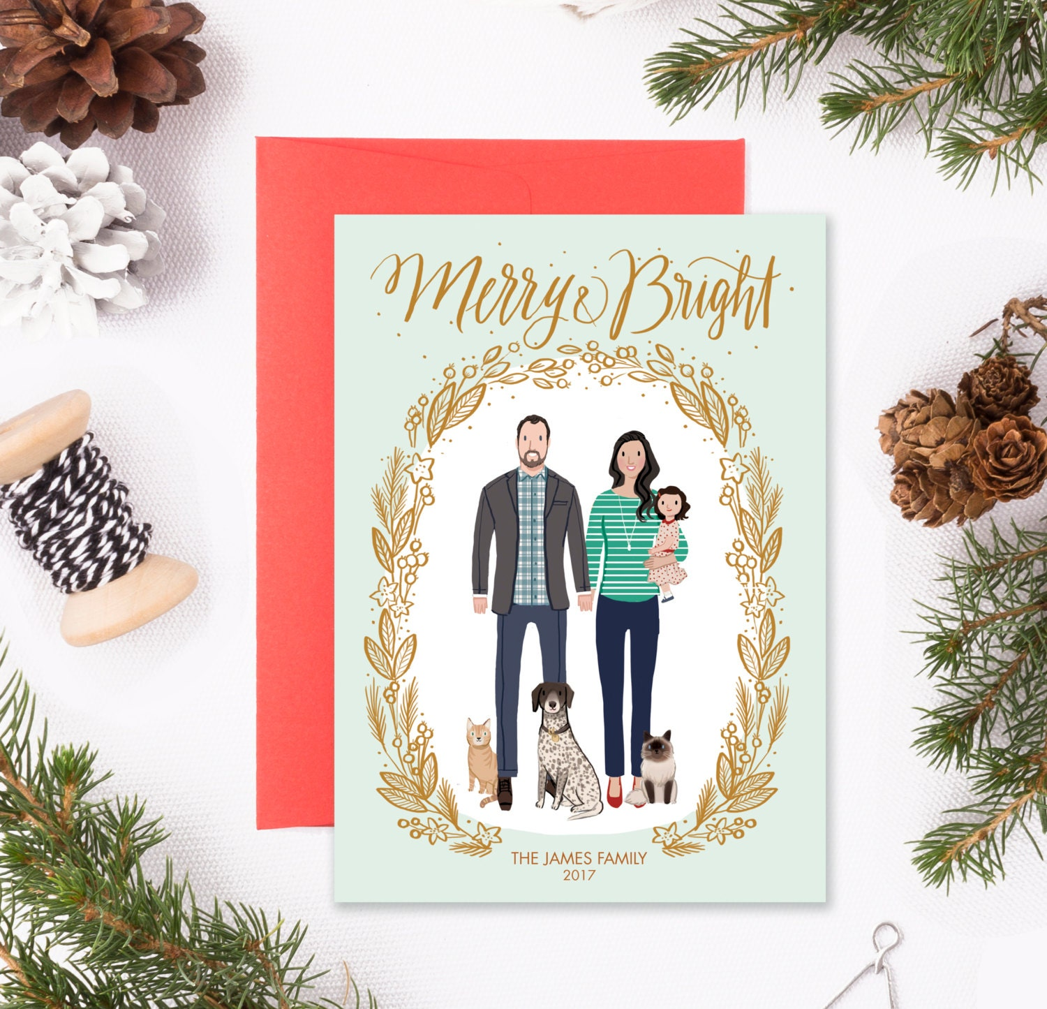 Custom Illustrated Family Portrait Christmas Holiday Card