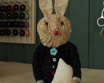 SOLD Rabbit art doll creepy cute strange creature clown