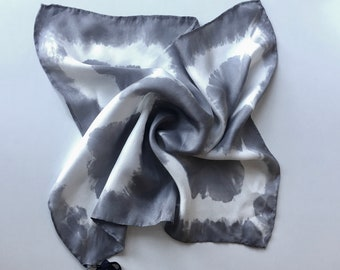 """Silk Scarf for Men or Women, Pocket Square, or Handkerchief in Grey & White 17""""x17"""" One of a kind.  Use for pocket, scarf, or tie."""