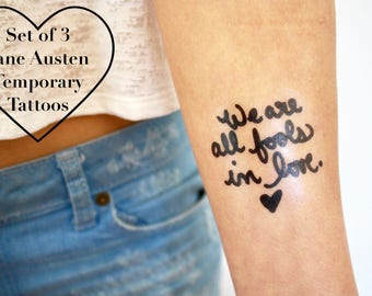 Set of 3- Jane Austen Temporary Tattoo Quotes- Pride and Prejudice- Literary Gifts- READY TO SHIP