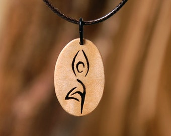 Yoga jewelry and pendant. Handmade wooden yoga necklace. Wood pendant.