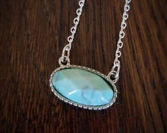Sweetheart faceted mint, turquoise or white marble natural stone pendant on super dainty lace style chain necklace. 3 colors to choose from.