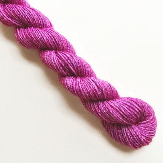 orchid / hand dyed yarn / mini skein / sock fingering yarn / merino wool superwash / embroidery / 4 ply / sparkle / orchid fuschia pink yarn