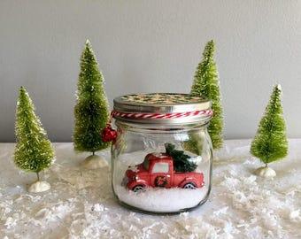 Truck in Mason Jar Snow Globe