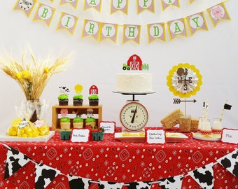 Farm Birthday Party Decorations Package - Farm Animals Garland - Cow Party Barn Bash picks - Farm Theme Baby Shower Table centerpiece
