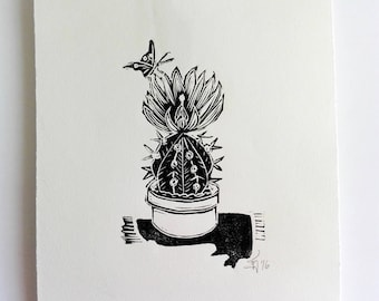 "Original Handmade Linocut Print, 6.5"" x 9"", Small size art, Minimal art, black ink, cactus, butterfly, wall decor, hand pulled, block print"