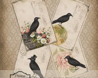 Cartes postales Vintage Crow instantanée en téléchargement numérique