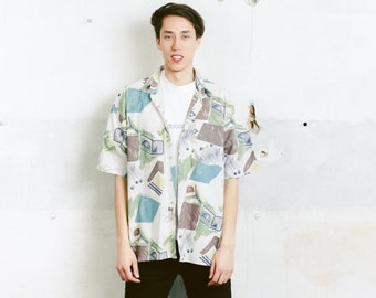 Men 90s Cotton Shirt . 90s Vintage Men's Short Sleeve Abstract Print Shirt Patterned 90s Shirt Vacation Shirt . size Extra Large XL