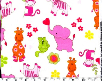 1 Yard 35 Inches, Pink Elephant, Monkey and Zebra on White Flannel