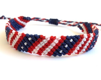 USA flag Bracelet, 4th of July Macrame Bracelet, Independence Day Bracelet