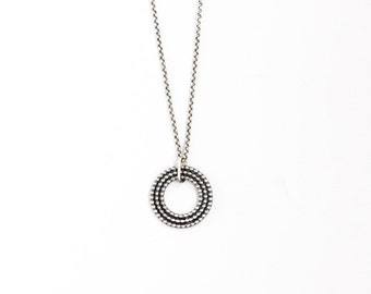 """Chic silver necklace, edgy design of 3 separate beaded wire circles nestled within each other to form a striking pendant - """"Relic Necklace"""""""