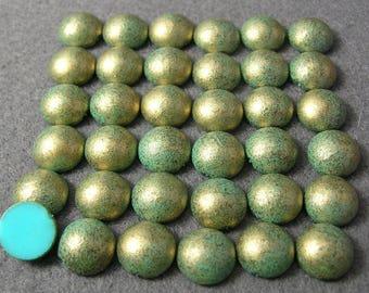 36 pieces Greenish Gold Metallic-Look 10mm Acrylic Cabochons