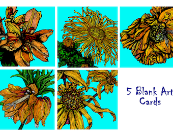 Greeting Cards - Floral -Set of 5  – Bold Blooms Orange & Yellow Set – Blank Cards