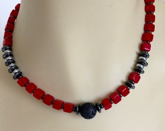 Red Coral Necklace. Hematite Necklace. Beaded Necklace. Coral Necklace Statement Necklace.